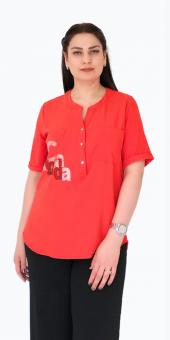 Sürmeli Triko Ghada Bayan Haki Yaka Çift Cepli Bluz Gömlek 17122