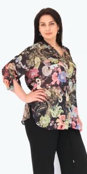Sürmeli Triko Ghada Şal Desenli Gömlek Bluz 17123