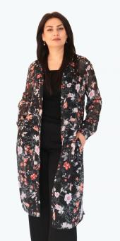 Sürmeli Triko Ghada Bayan Çiçekli Uzun Tunik Gömlek 17124