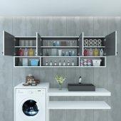 Kenzlife banyo dolabı ilya gri 060*150*22 hazır mutfak ofis dolabı kitaplık kapaklı raflı
