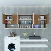 Kenzlife banyo dolabı darya cvz 060*180*22 hazır mutfak ofis dolabı kitaplık kapaklı raflı