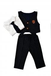 Teqne Bebek Yelekli Kravatlı Takım Elbise-4