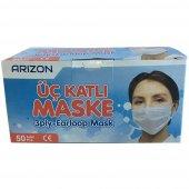Arızon 50 Adet Lastikli Burun Telli 3 Katlı Cerrahi Maske Ful Ultrasonic