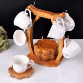 Paçi Bambulu Porselen Askılı Kahve Fincanı P101049