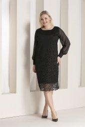 Günay Kadın Elbise Rg6578Y Mevsimlik O Yaka Şifon Kol Dante-SIYAH