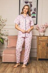 Kadın Pijama Takımı Tampap 3 Parça Shortlu Gömlek Yaka