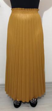 butikxxl  deri görünümlü soley pliseli beli gipe lastikli tam boy prenses etek