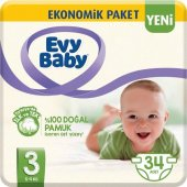 Evy Baby Bebek Bezi 3 Beden Midi 34 Adet (Yeni)