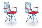 Knsz kafes tel sandalyesi 2 li mazlum mvikrm kolçaklı ofis cafe bahçe mutfak