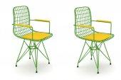 Knsz kafes tel sandalyesi 2 li mazlum yşlsrı kolçaklı ofis cafe bahçe mutfak