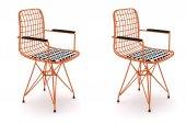 Knsz kafes tel sandalyesi 2 li mazlum trnkono kolçaklı ofis cafe bahçe mutfak