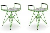 Knsz kafes tel sandalyesi tabure 2 li mutlu yşltalen kolçaklı ofis cafe bahçe mutfak