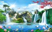 Orman Ve Şelale Manzaralı 3d Duvar Kağıdı