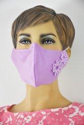 Çiçek Nakışlı Pembe Maske