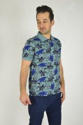 Erkek Mavi Desenli Baskılı Polo Yaka T-shirt-2