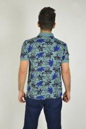 Erkek Mavi Desenli Baskılı Polo Yaka T-shirt-3