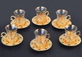 Ahu Çay Seti İşlemeli 6 Kişilik 18 Parça Altın Renkli