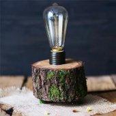 Doğal Ağaç Dokulu Rustik Led Masa Lambası