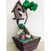 Ahşap Saksıda Aşık Kuşlar Tasarımlı Minyatür...