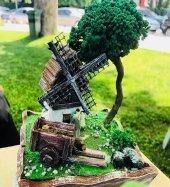 Ahşap Saksıda Değirmen Tasarımlı Minyatür Bahçe...