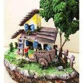 Doğal Kütük Üzeri Köy Evi Temalı Minyatür Bahçe...