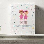 Kişiye Özel İkizler Burcu Temalı Kanvas Tablo 6...