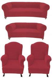 Kadife Kumaş Chester Model 3+2+1+1 Koltuk Kılıfı Kırmızı