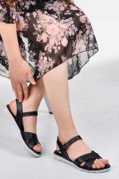 Ayakcenter Ege 6291 Siyah Yazlık Bayan Düz Sandalet Ayakkabı