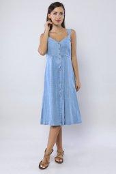 Tensel Askılı Midiboy Kot Elbise