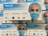 3 Katlı Medikal Lastikli Cerrahi Yüz Maskesi Burun Telli 100 Adet Ce Belgeli Yasal Ürün