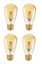 Osram Edison St64 4w (34w) 4 Flamanlı Rustik Led Ampul Sarı Işık (4 Adet)