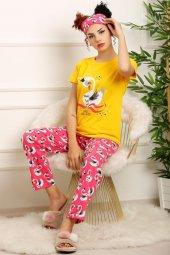 Kadın Pijama Takımı Sarı 20209.1059.