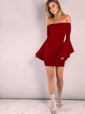 Ispanyol Kol Straplez Mini Elbise