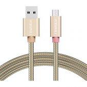 Fineblue Metal Sargı iPhone Lightning Hızlı Şarj USB Data Kablo F-C05 Gold
