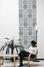 Karışık Karo1 Stencil Boyama şablonu 30x30 cm, Duvar Stencil, Fayans Stencil, Mobilya Stencil