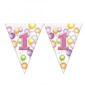 Balonlar 1 Yaş Pembe Lisanslı Üçgen Bayrak Afiş