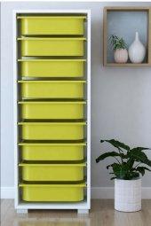 9 Sepetli Sarı Çok Amaçlı Dolap