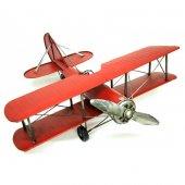 Çift Kanatlı Dekoratif Metal Keşif Uçak Büyük Boy 60 Cm ( Kırmızı )
