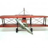Çift Kanatlı Dekoratif Metal Keşif Uçak Büyük Boy 60 Cm ( Kırmızı )-2