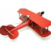Çift Kanatlı Dekoratif Metal Keşif Uçak Büyük Boy 60 Cm ( Kırmızı )-3