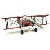 Çift Kanatlı Dekoratif Metal Keşif Uçak Büyük Boy 60 Cm ( Kırmızı )-4