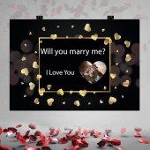 Siyah Zemin Gold Kalpli Evlilik Teklifi Afişi