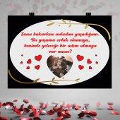 Siyah Zemin Kırmızı Kalpli Gold Detaylı Evlilik...