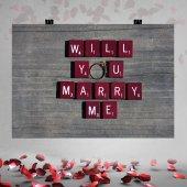 Scrabble Desenli Evlilik Teklifi Afişi