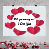Kalp Çerçeve Desenli Evlilik Teklifi Afişi