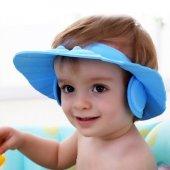 Bebek Banyo Şapkası Düğmeli Kulaklıklı Mavi