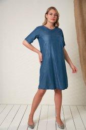 Cep Taş Detaylı Büyük Beden Elbise