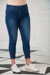 Lazer Detay Büyük Beden Kim Mavi Pantolon