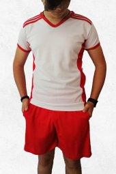 Modapalace Omzu Kırmızı Şerit Detaylı V Yaka Spor Tişört