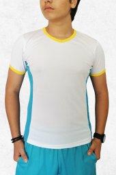 Modapalace Turkuaz Sarı Modelli V Yaka Spor Tişört